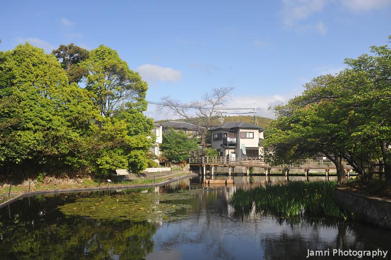 The Garden Pond.<br /> The Irises weren't quite ready on this day.<br /> At Nagaoka Tenmangu Shrine, Nagaokakyo, Kyoto-fu, Japan.