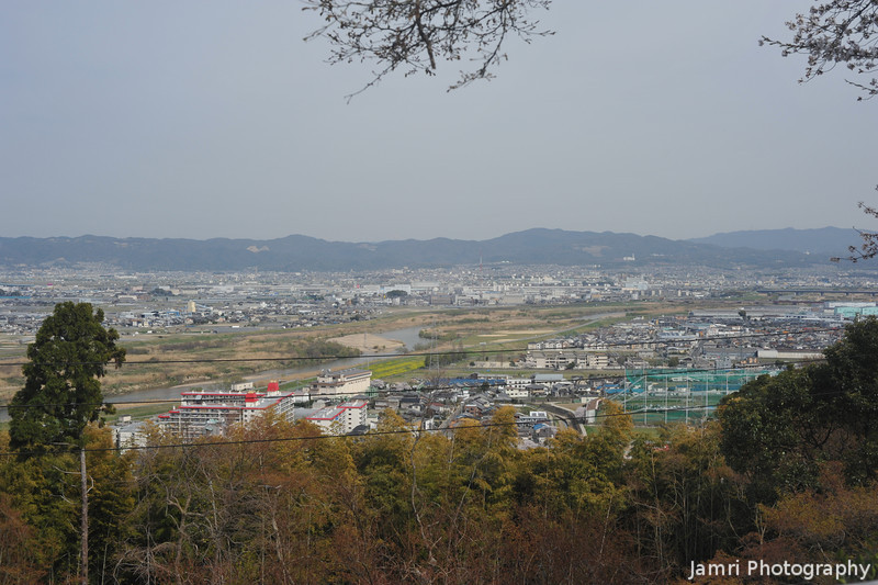 The View along the Uji River Plain.<br /> From Mt. Otoko, Yawata city, Kyoto-fu.