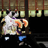 Synchronisation.<br /> Two Maiko (apprentice Geisha) at a public performance, during the 2013 Higashiyama Hanatouro in Gion, Kyoto.