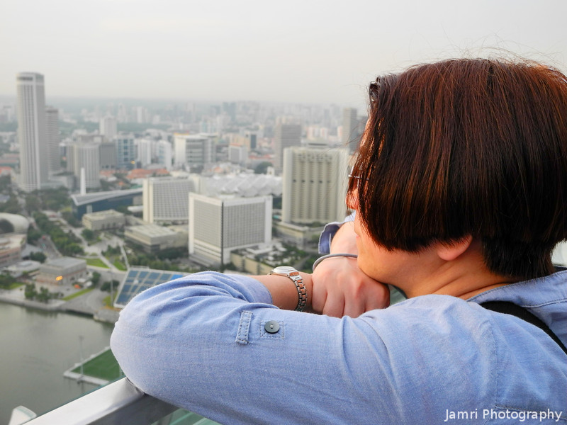 Ritsuko admiring the view.<br /> From the Observation Deck of the Marina Bay Sands Hotel.