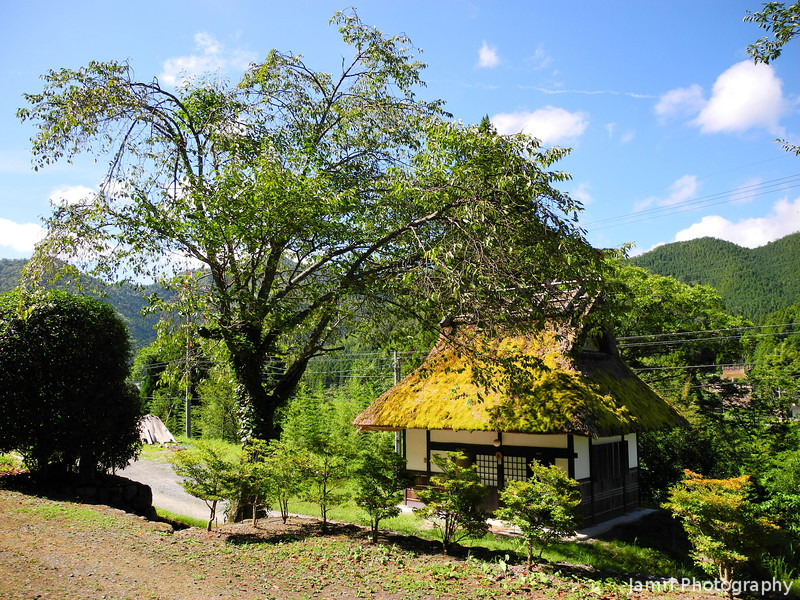 A wider shot of the toilets and surrounds.<br /> Miyama-cho, Kyoto-fu.