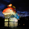 Man Riding a Fish.<br /> One of the lit up displays depicting scenes from Japanese Folk Stories in Maruyama Park, Gion, Kyoto.<br /> During the 2013 Higashiyama Hanatouro.