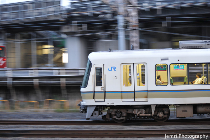 White Commuter Train on the Move.