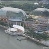 A view of the Big Durian.<br /> From the Marina Bay Sands Hotel observation deck.