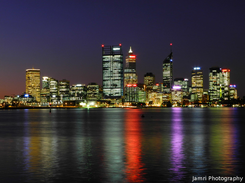 """Perth Reflections - 2012. Back to the spot where I made <A href=""""http://jamri.smugmug.com/Travel/Perth-Australia/4560084_V9QtPt#!i=352754299&k=2fRhN"""">this shot</A> in 2008. For the photo gear fans this time I used my Nikon Coolpix P7100 on an old but sturdy tripod. Note I'm still sorting through the next batch of photos to post."""