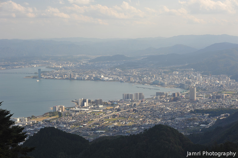 Otsu.<br /> The capital city of Shiga prefecture which sits on the southern end of Lake Biwa. From Mt. Hiei.