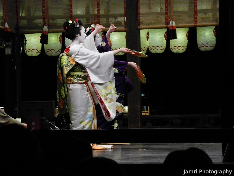 Graceful Dancing.<br /> Maiko (apprentice Geisha) at performing for the public at the 2013 Higashiyama Hanatouro in Kyoto.