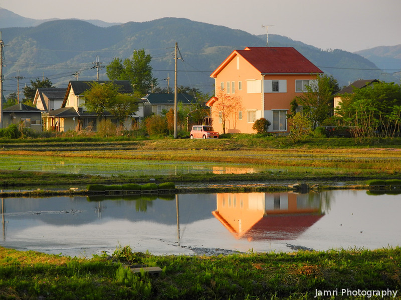 The Orange House in Golden Light.<br /> Omi-Imazu, Shiga-ken, Japan.