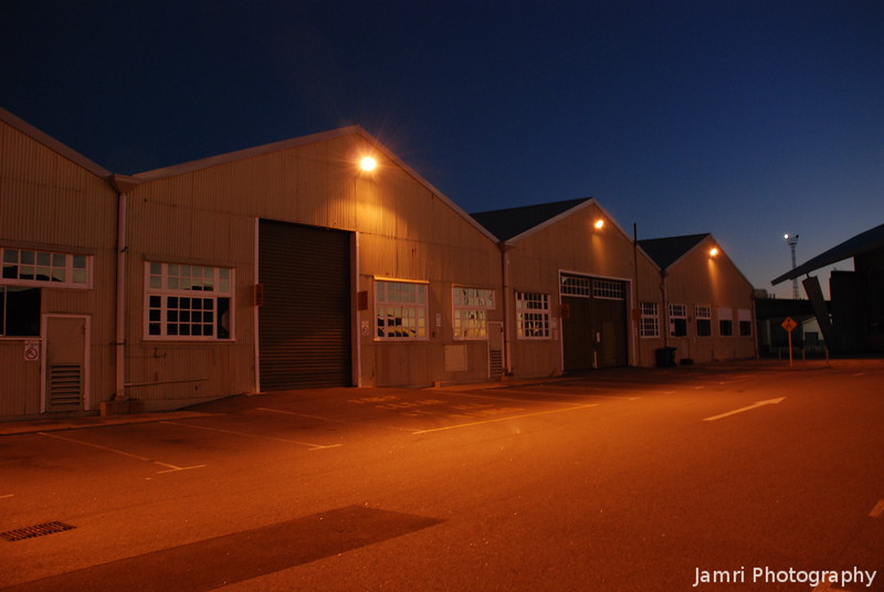Maintenance Sheds in the Evening