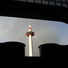 Framing the tower.<br /> A shot of the Kyoto Tower from the Station foyer, I took while passing through the station.