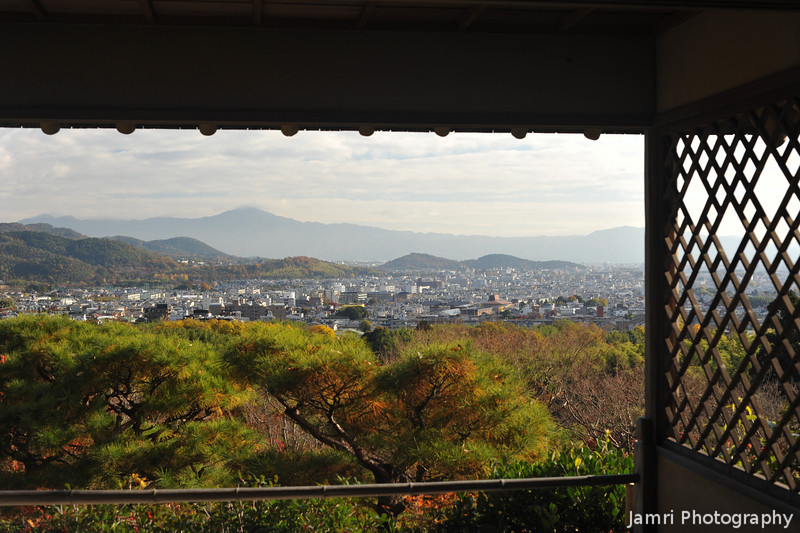 From the upper observation building towards Mt Hiei.<br /> At Okochi Sanso, Arashiyama, Japan.