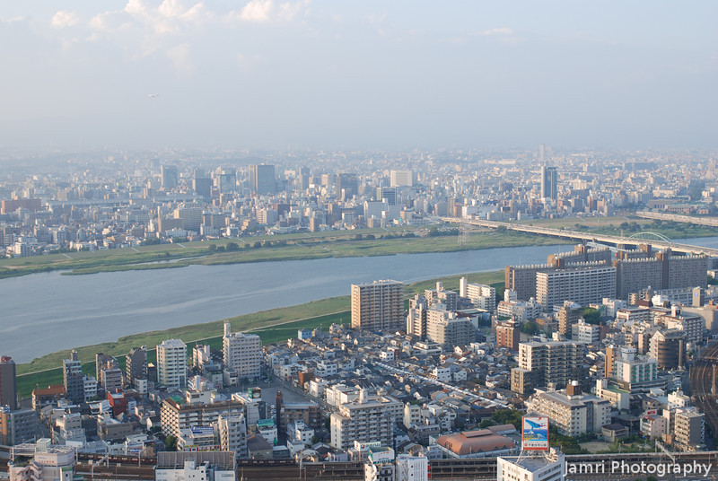 A view North West.<br /> Towards the Yodogawa (Yodo River).<br /> From the Umeda Sky Building in Osaka.