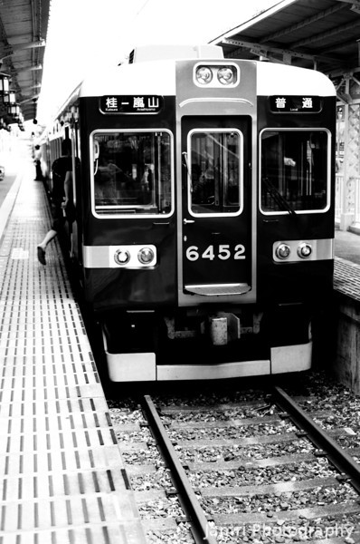 Hankyu Train at Arashiyama Station.<br /> The start of the second session of my B&W summer project.<br /> Note Film Shot: Nikon F80 + 50f/1.8 + Orange Filter + Fujifilm Neopan Acros