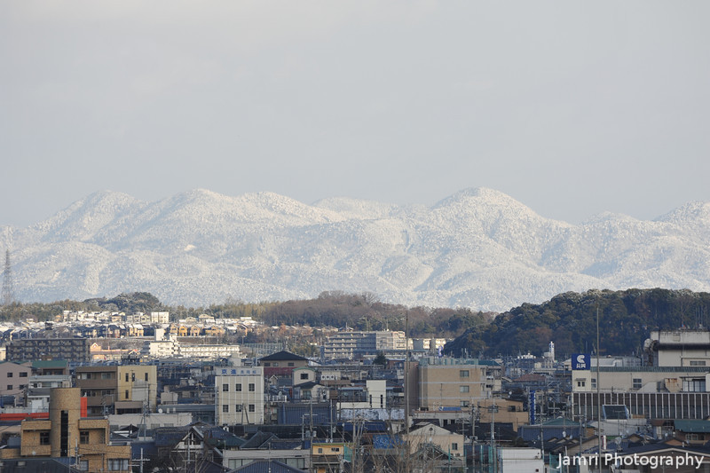 Towards North Nagaokakyo, Muko and the Mountains of Kitayama.