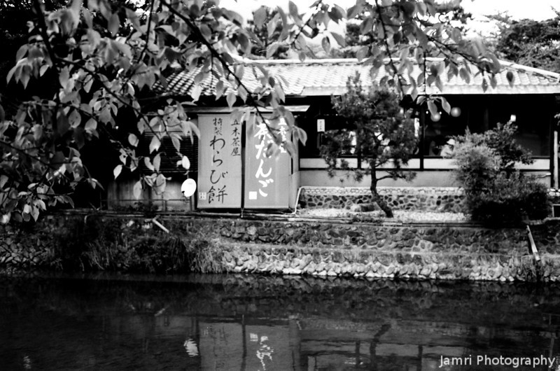 Through the Trees.<br /> A traditional restaurant in Arashiyama.<br /> Note Film Shot: Nikon F80 + 50f/1.8 + Orange Filter + Fujifilm Neopan Acros