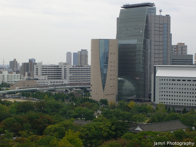 Osaka History Museum and NHK Building.<br /> From Osaka Castle.
