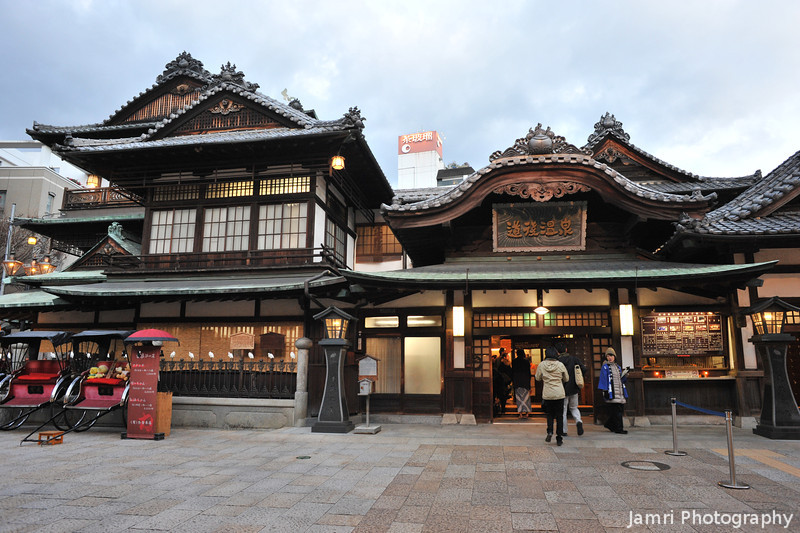 In front of the entrance to the bathhouse.