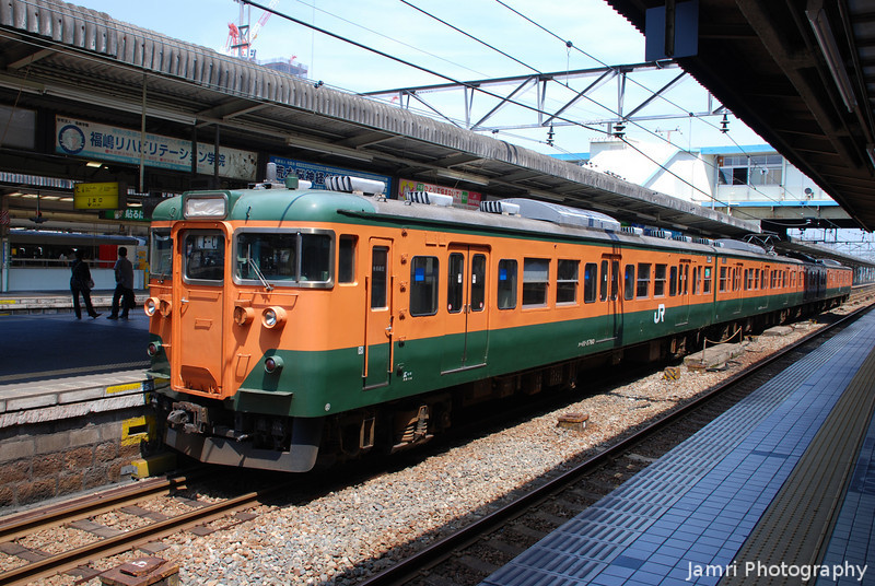 Orange and Green Train.<br /> At Hiroshima Station.