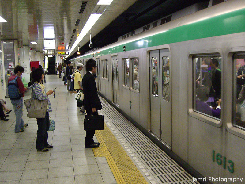 In the Kyoto Subway.<br /> On our way to get our Australian drivers licenses translated at J.A.F. (Japan Automobile Federation like the R.A.C. in Australia).