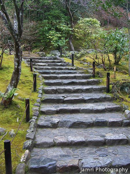 Stone Stairway.<br /> At Tenryu-ji (a Zen Buddhist Temple) in Arashiyama, Kyoto.