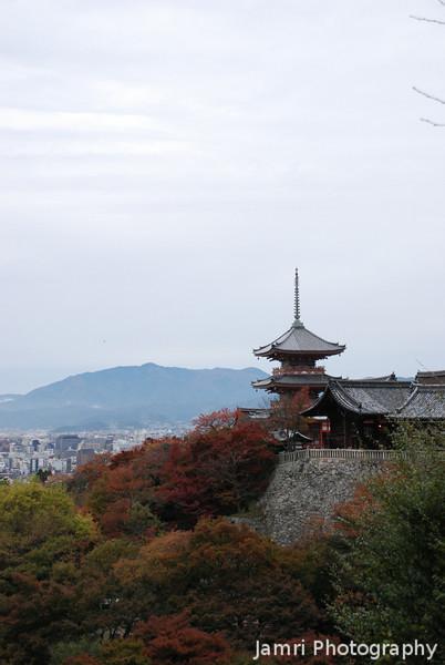 Pagoda against a cool sky.<br /> At Kiyomizu-dera (Kiyomizu temple), Higashiyama, Kyoto.
