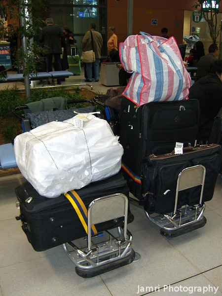 Logistical Challenges<br /> This is all of the stuff we brought as either checked baggage or carry on baggage. It was bit of challenge getting this all the way from Kansai Airport to Nagaokakyo using only Bus and Train! Taxi is way too expensive for us. (Note I've now learnt about MK Taxi, which is a shared Taxi and much cheaper than regular, so if you are going to or from Kansai Airport with a lot of baggage it might be easier than bus/train, there are also baggage delivery services).