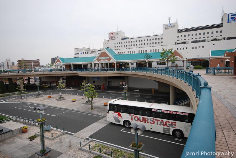 Towards the Station Building.<br /> At Kurashiki in Okayama-ken.