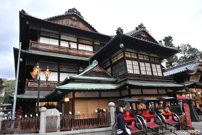 """The Bathhouse and Rickshaws.<br /> The bathhouse in """"Spirit Away"""" (Japanese: Sen to Chihiro no kamikakushi) was based on this bathhouse's design. This bathhouse also features in the book """"Botchan""""."""