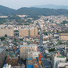 Towards Higashiyama.<br /> The view towards the east from the Kyoto tower.