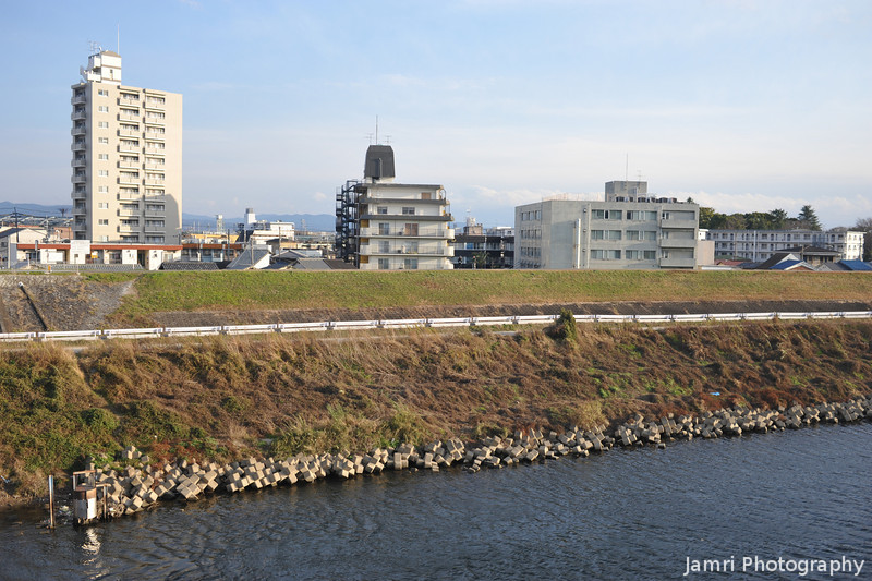 Buildings along the Katsura River.
