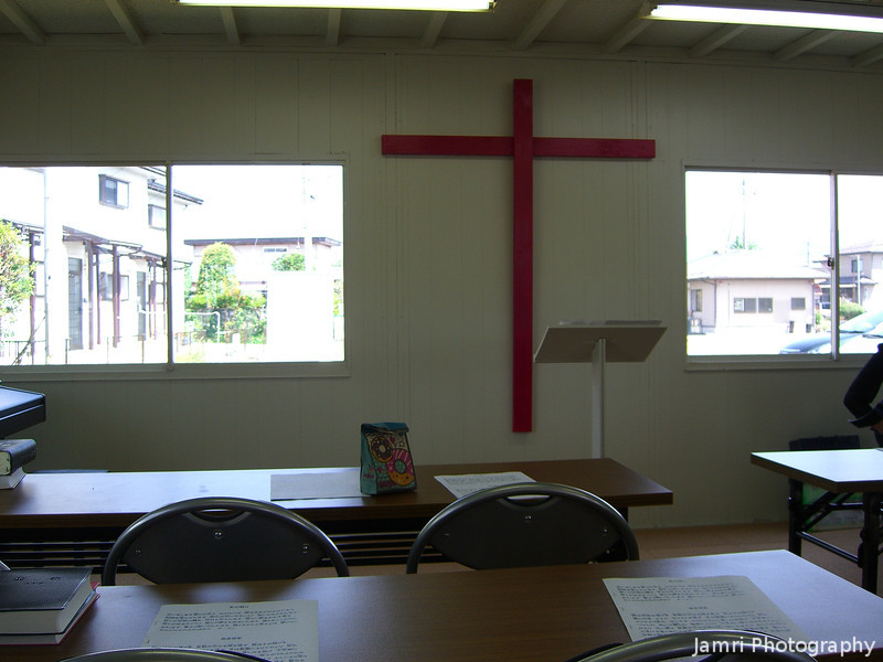 Inside Makino Church.<br /> It was hotter inside this prefab church than outside, even with two air conditioners running at max!