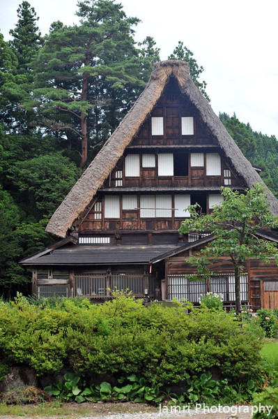 The Biggest Gassho-zukuri house of them all.<br /> Five stories high, it was used a dormitory for government workers in the Edo period.<br /> Along the road between Suganuma and Shirakawa-go in Toyama Prefecture, Japan.