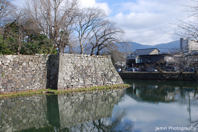 Castle Wall and Moat.<br /> At Hikone, Shiga Prefecture.