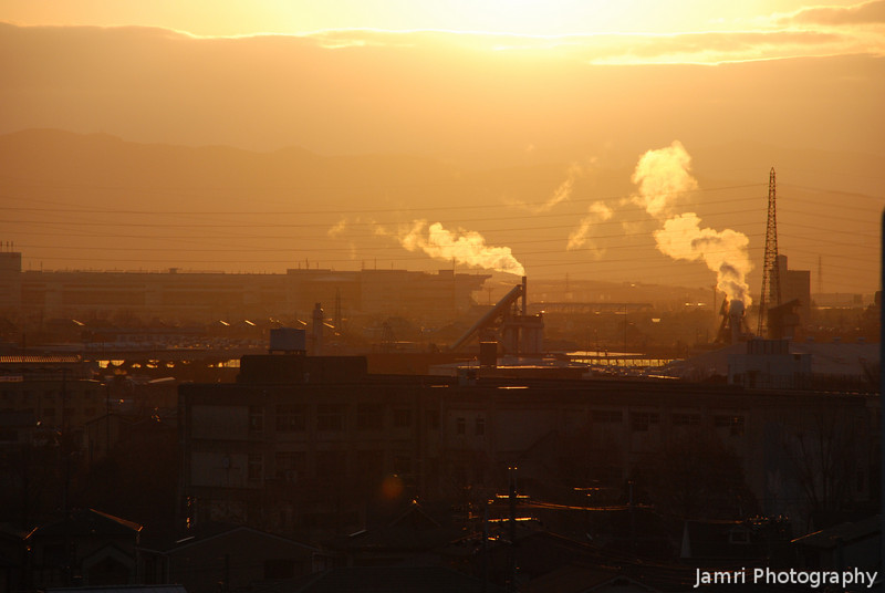 """The Dawn of Industry.<br /> A shot of the Industrial Area in Nagaokakyo at dawn from """"Fune Mansion""""."""