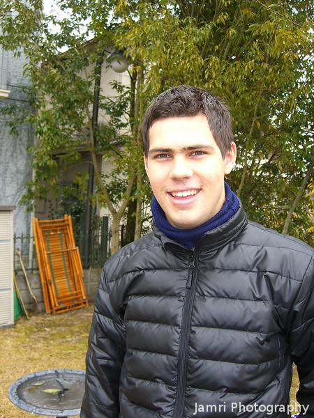 """We made it""<br /> Dave in our friends' backyard after 2km walk in the cold weather."