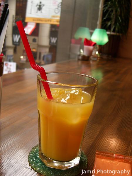 Orange Juice at Harry's Cafe.