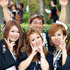Five Gals and a Funny Guy.<br /> These five young ladies were part of the parade, but their float had to stop for some reason. They came over and insisted I take their photo, but at the moment I pressed the shutter button, the guy jumped up behind them, they told him off, but I think it added to the moment. Normally Japanese are so shy to do this kind of stuff, but this was in Osaka!