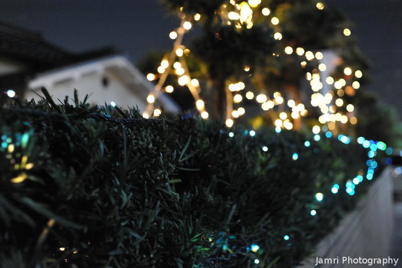 Lights along a wall.