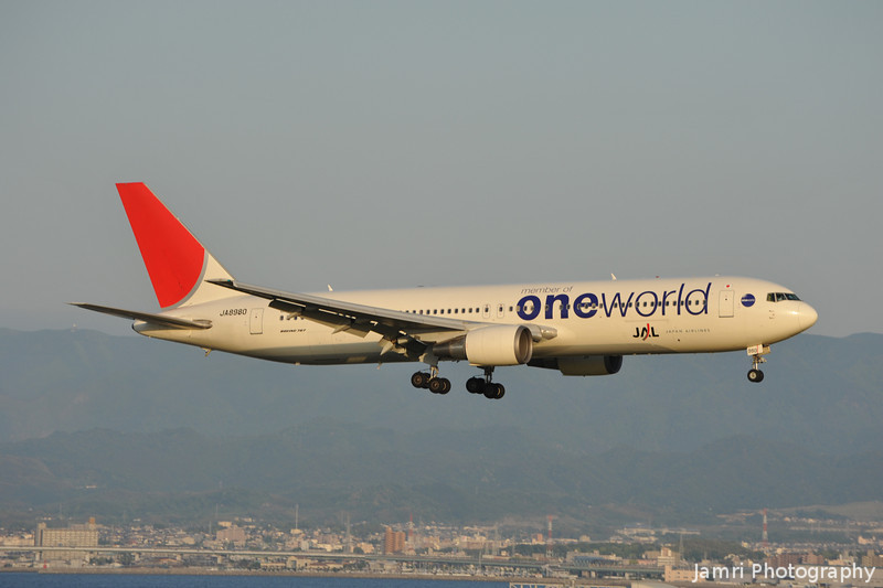 A JAL Boeing 767-346 with One World livery.<br /> Approaching Touchdown at Kansai Airport.<br /> Rego: JA8980