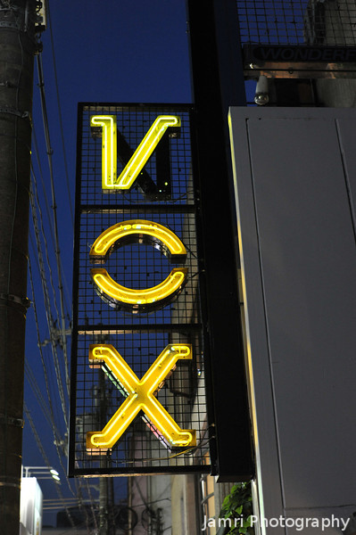 VOX.<br /> A neon sign near Kawaramachi-dori in Kyoto.