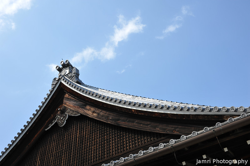 Temple Roof against the Sky.<br /> At Tenryu-ji in Arashiyama, Kyoto.