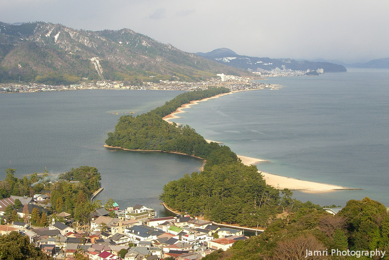 Amanohashidate town and view.