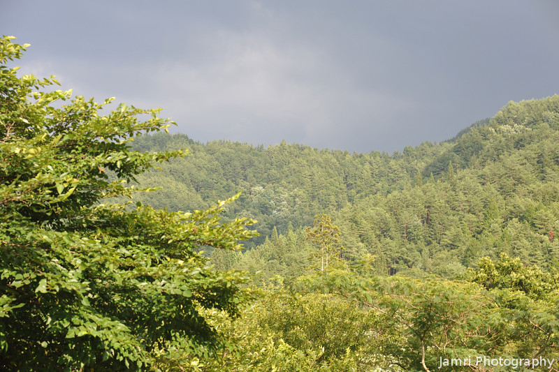Sun on the hills.<br /> From Aburamu no sato (Abram's place) near Hida Furukawa, Gifu Prefecture, Japan.
