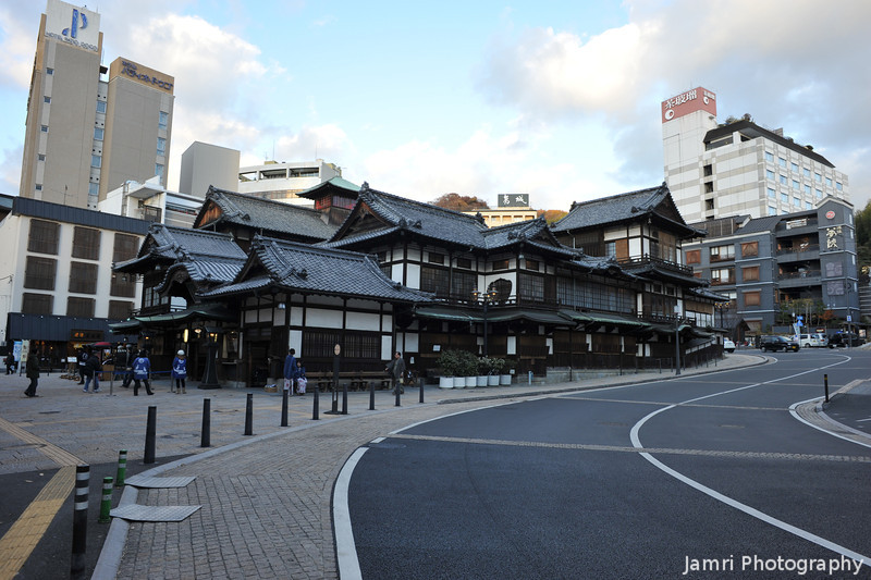 "Towards the famous Onsen.<br /> The bath house in ""Spirit Away"" (Japanese: Sen to Chihiro no kamikakushi) was based on this bathhouse's design. This bathhouse also features in the book ""Botchan""."
