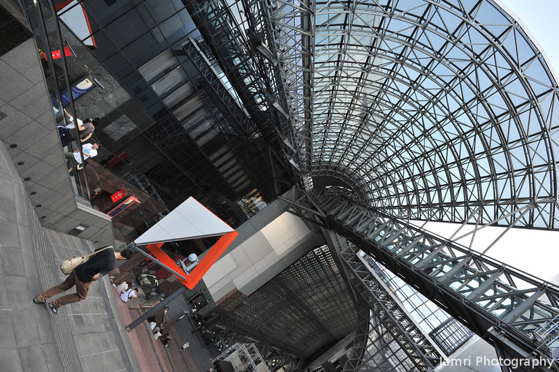 Towards the Fan Shaped Roof.<br /> At Kyoto Station.