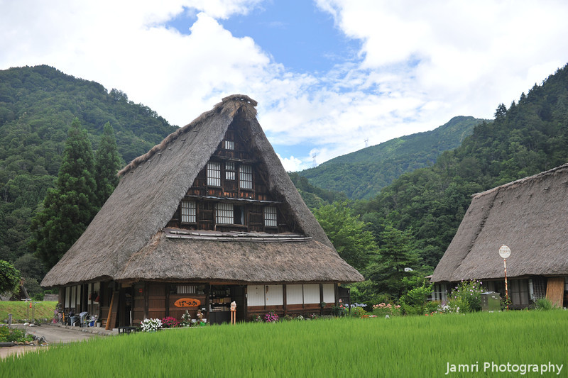 A Gassho-zukuri (praying hands) house.<br /> In Suganuma Village, Gokaya district, Toyama Prefecture, Japan
