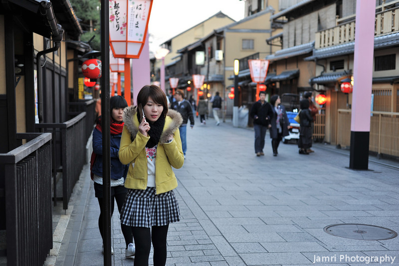 Chinese Tourist.<br /> She was talking in fluent Mandarin on the phone. At least some tourists are still coming to Kyoto.