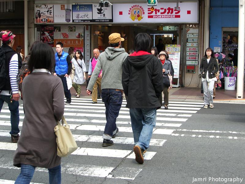 A Street Crossing in Kyoto.