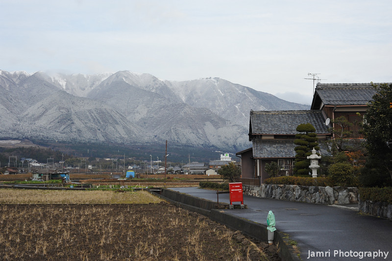 Mountain, Field and House.<br /> A scene from rural Wani in Shiga.