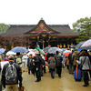 Rainy Day Crowds.<br /> Even though it was raining there were still a lot of people at Kitano Tenmangu on the 25th of February for the monthly market and the annual visit by the Maiko (apprentice Geisha).